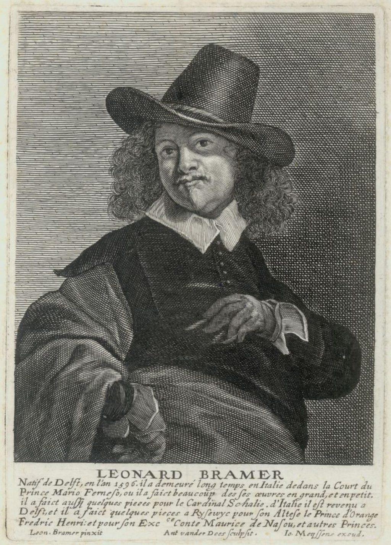 Gravure van Antony van der Does (1609-1680), naar een zelfportret van Leonard Bramer. (TMS 67961)