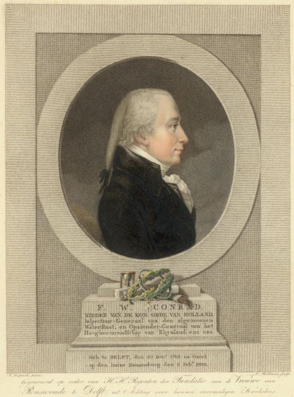 Frederik Willem Conrad (1769-1808). Stippelgravure door Johannes Anspach in opdracht van de regenten van de Fundatie, c. 1808. (TMS 6544)