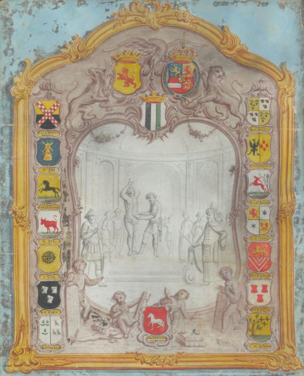 Ontwerp voor een wapenbord van de hoge vierschaar van Delfland door Jan Notemans, 1761 (TMS 69407)