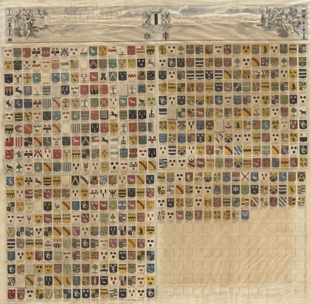 Namen en wapens van de leden van de veertigraad sinds 1476; gravure door Hendrik de Leth op basis van gegevens van Willem van der Lely, 1738 (TMS 114611)