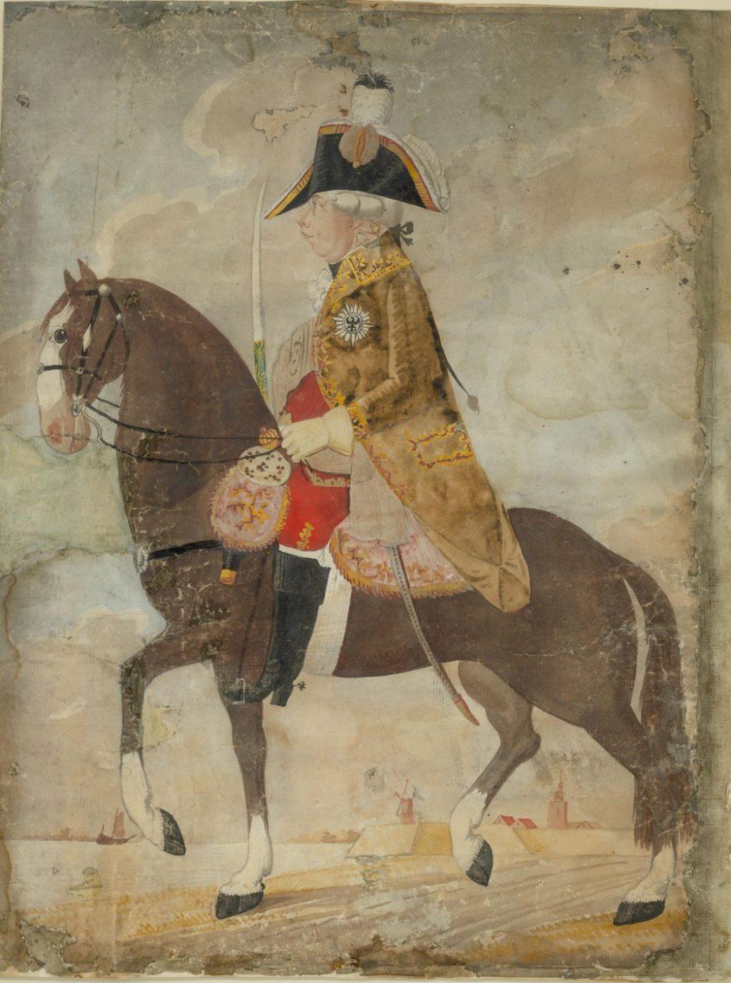 Prins Willem V te paard, omstreeks 1780. (TMS 59569)