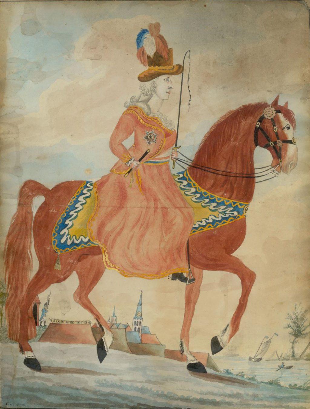 Prinses Wilhelmina van Pruisen te paard, omstreeks 1780, gesigneerd G. v.d. Storm (TMS 75053)
