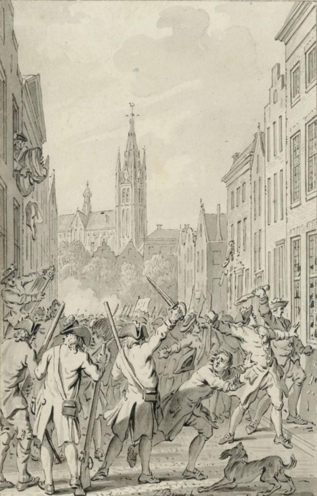 Haagse Oranjegezinden plunderen huizen van Delftse patriotten; tekening door Jacobus Buijs, 1787. (TMS 70731)