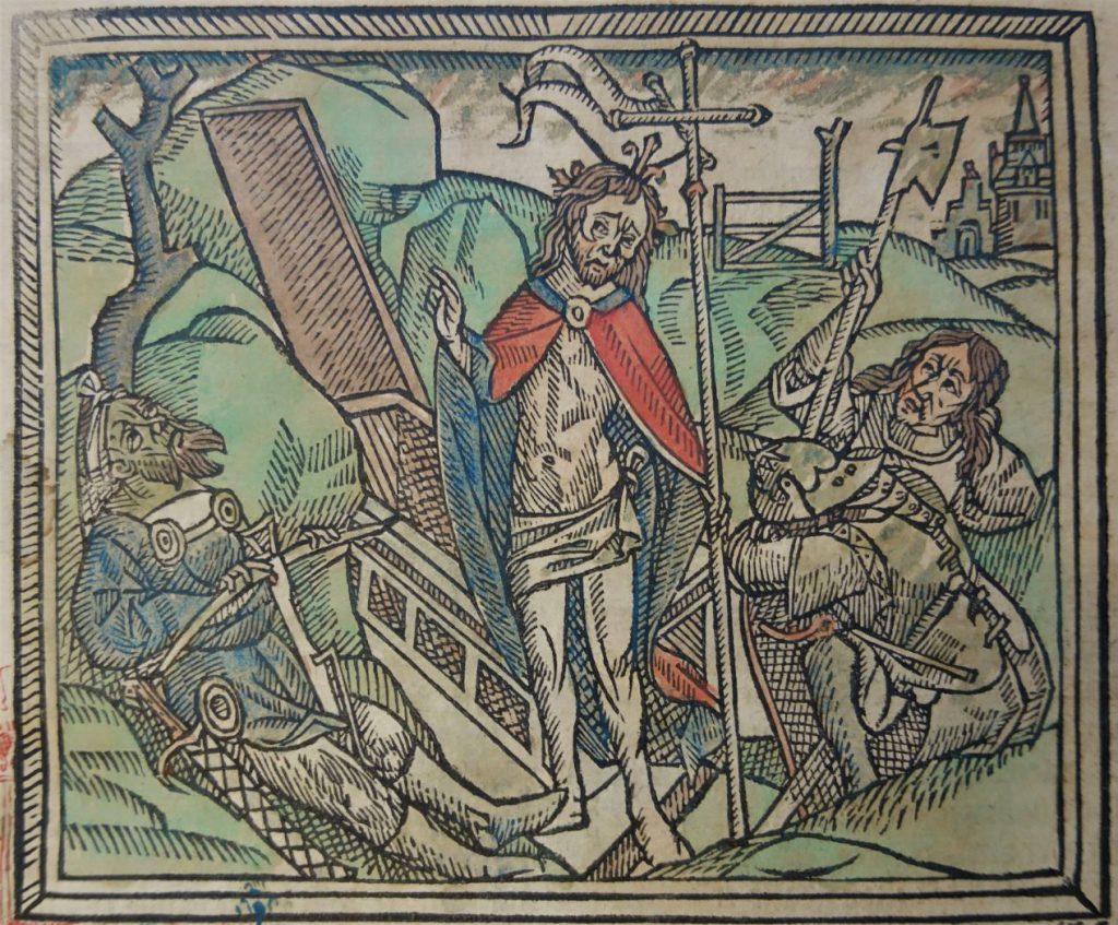 Ingekleurde houtsnede van de opstanding van Christus uit de Gulden Legende. (Bibliotheek)