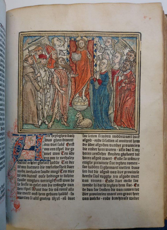 Ingekleurde houtsnede voor het feest van Allerheiligen uit de Gulden legende. (Bibliotheek)