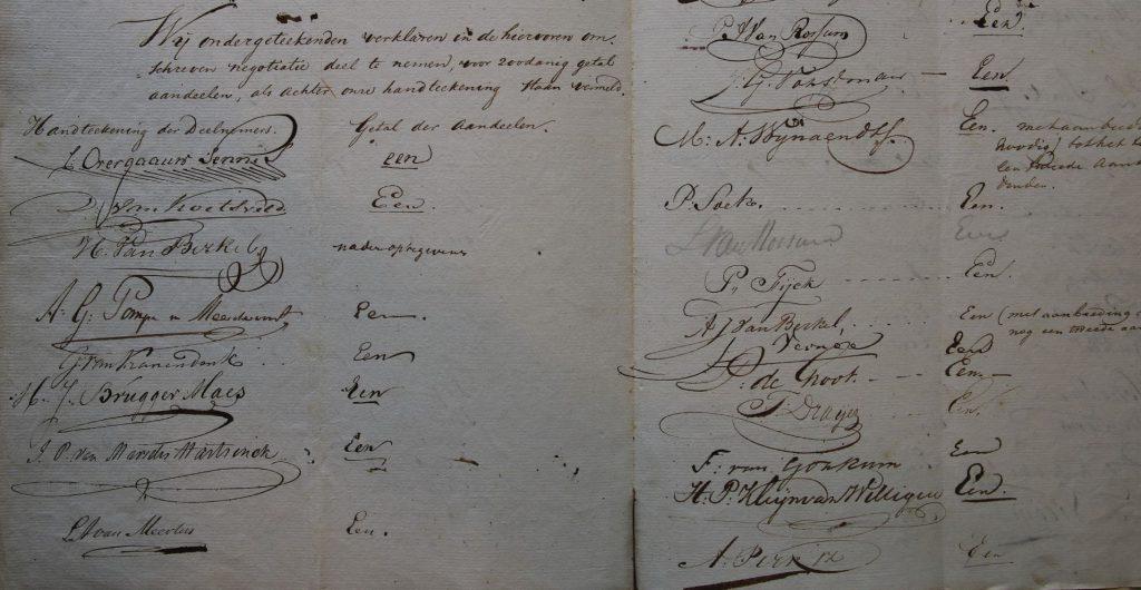 Uitgave aandelen oprichting Stadsdoelen, 8-8-1829 (Archief 126, inv.nr 26)