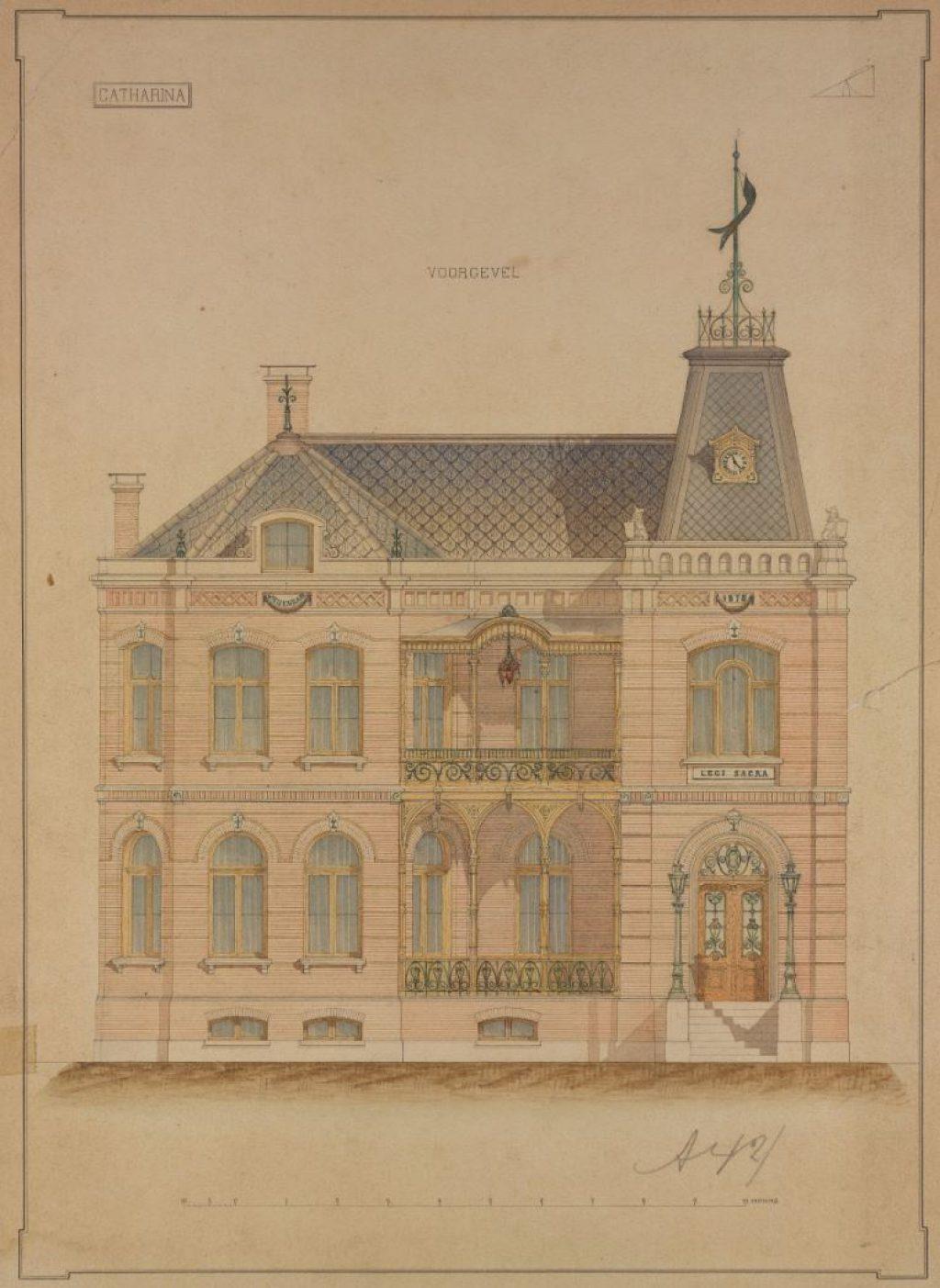 Plan voor een raadhuis en burgemeesterswoning voor Vrijenban, B. Schelling Azn, 1878. Na 1921 wordt dit de burgemeesterswoning voor Delft. (TMS 64694)