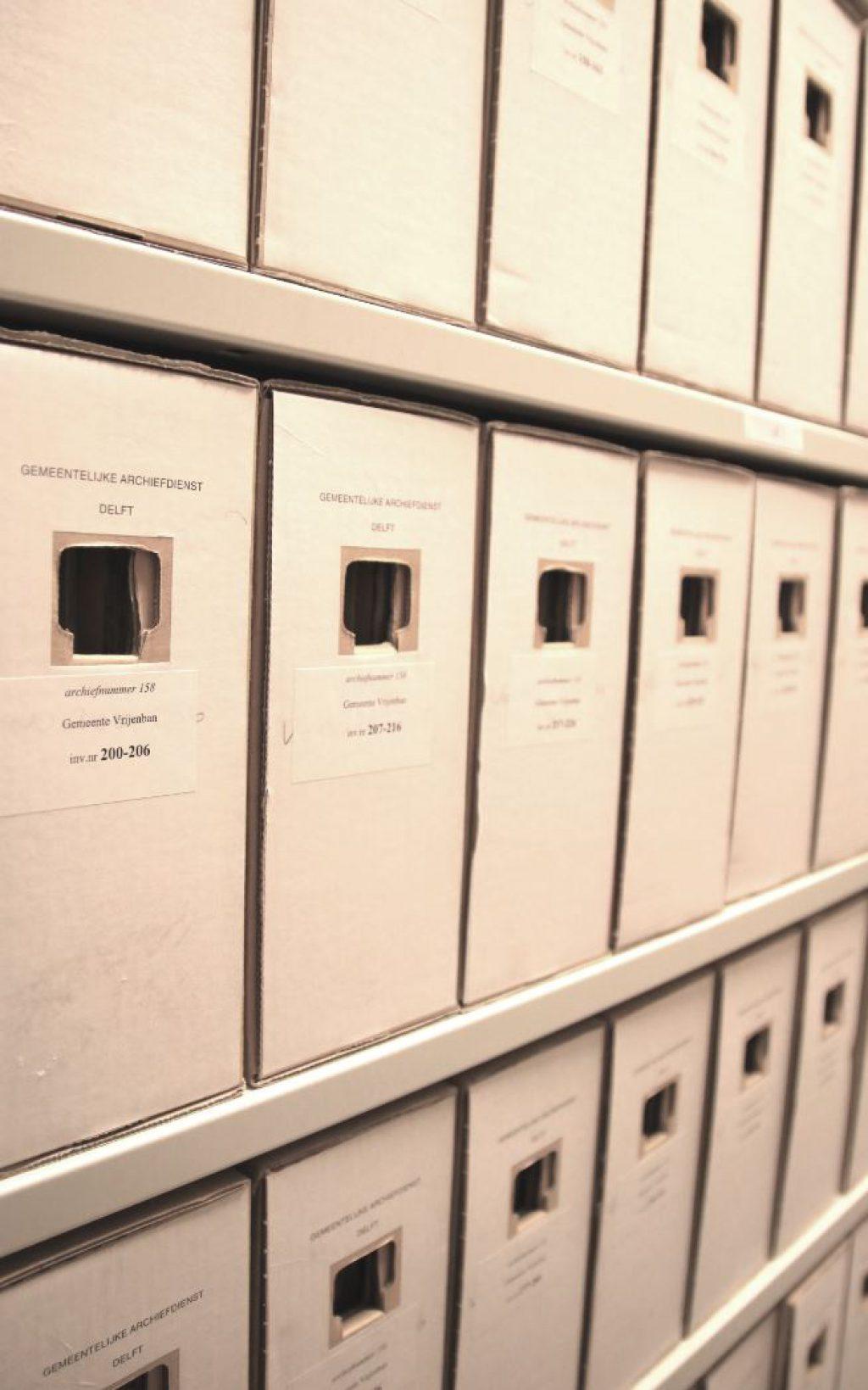 De archieven van gemeente Vrijenban in het Stadsarchief van Delft.