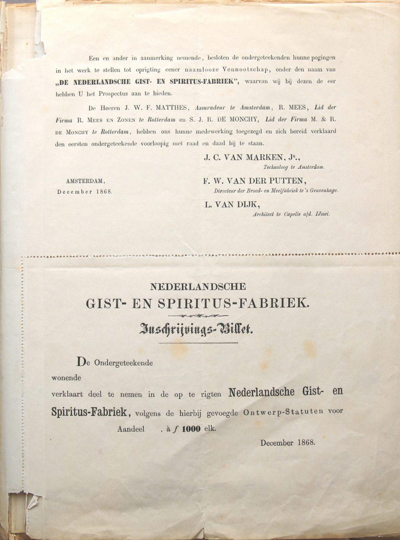 Inschrijvingsbiljet voor een aandeel van 1000 gulden in de nog op te richten Gistfabriek, 1868 (Archief 188 inv.nr 1)
