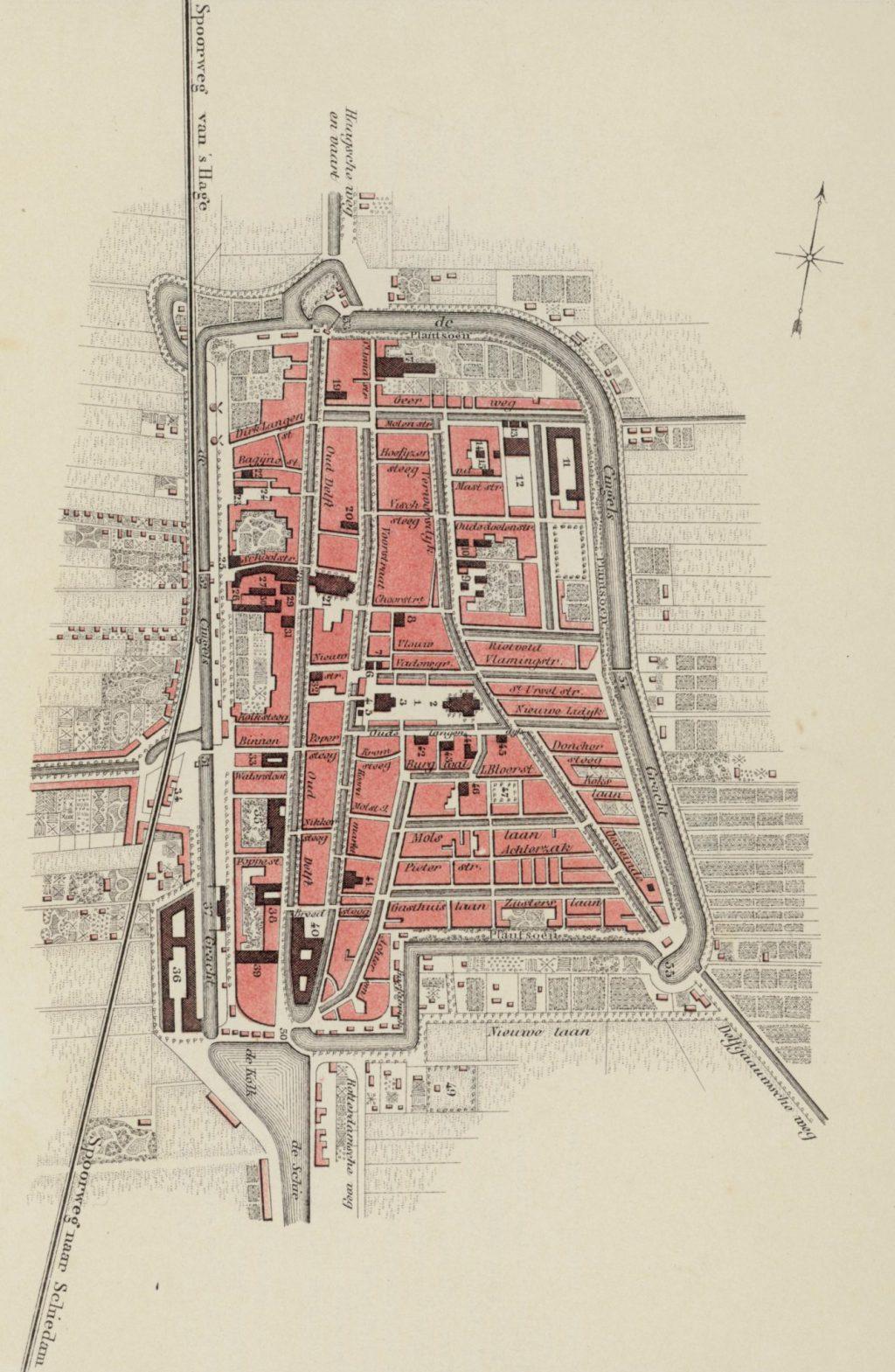Plattegrond van Delft, Samuel Lankhout & Co naar een tekening van C.K. de Geus, 1858 (TMS 11211)