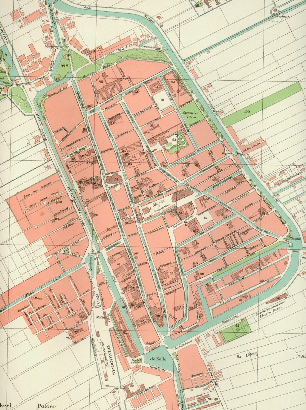 Plattegrond van Delft na aanleg van het Rijn-Schiekanaal, 1898 (TMS 4815)