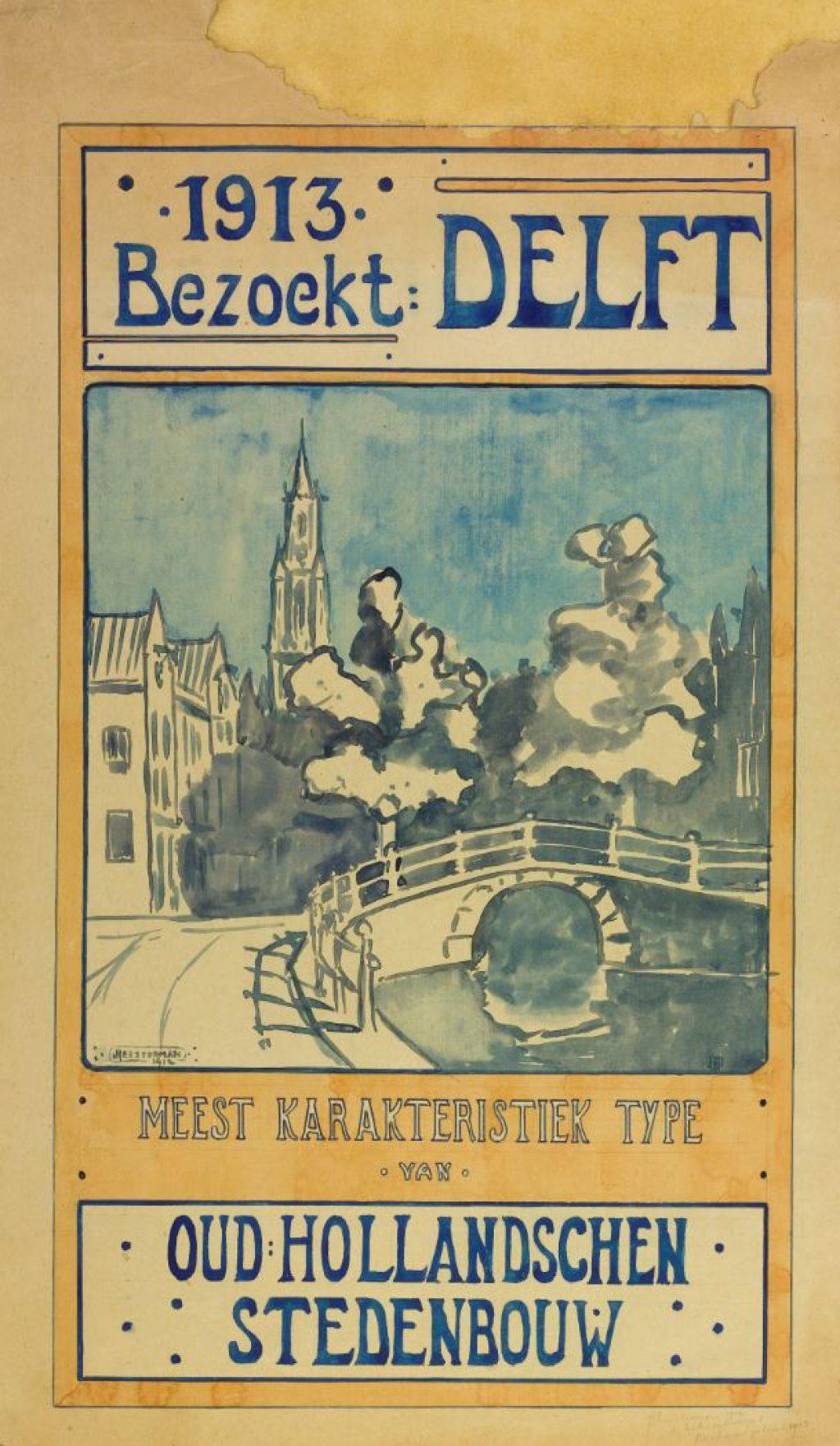 Jan Heesterman, ontwerp van een promotieaffiche voor Delft, 1912 (TMS 65360)