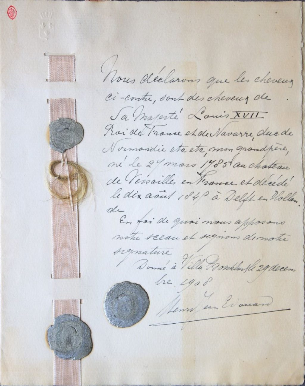 Bewaarde haarlok uit het dossier van Karl Wilhelm Naundorff (Archief 513, inv.nr 85)