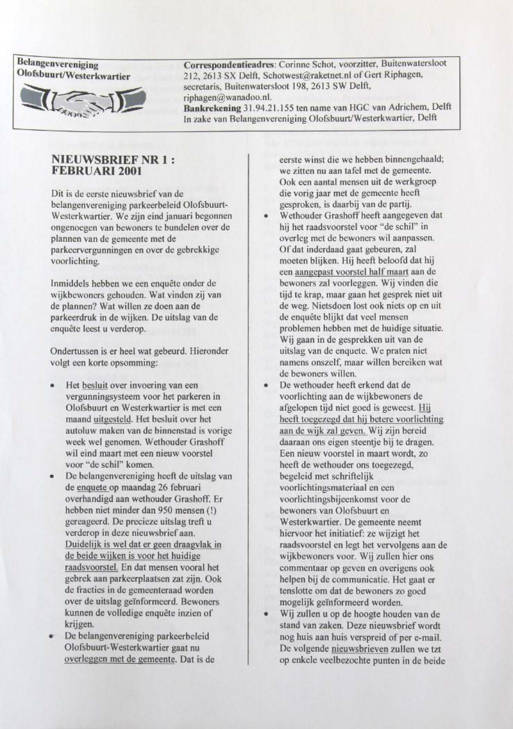 Nieuwsbrief nummer 1 van Belangenvereniging Olofsbuurt/Westerkwartier, februari 2001 (Archief 598 inv.nr 938)