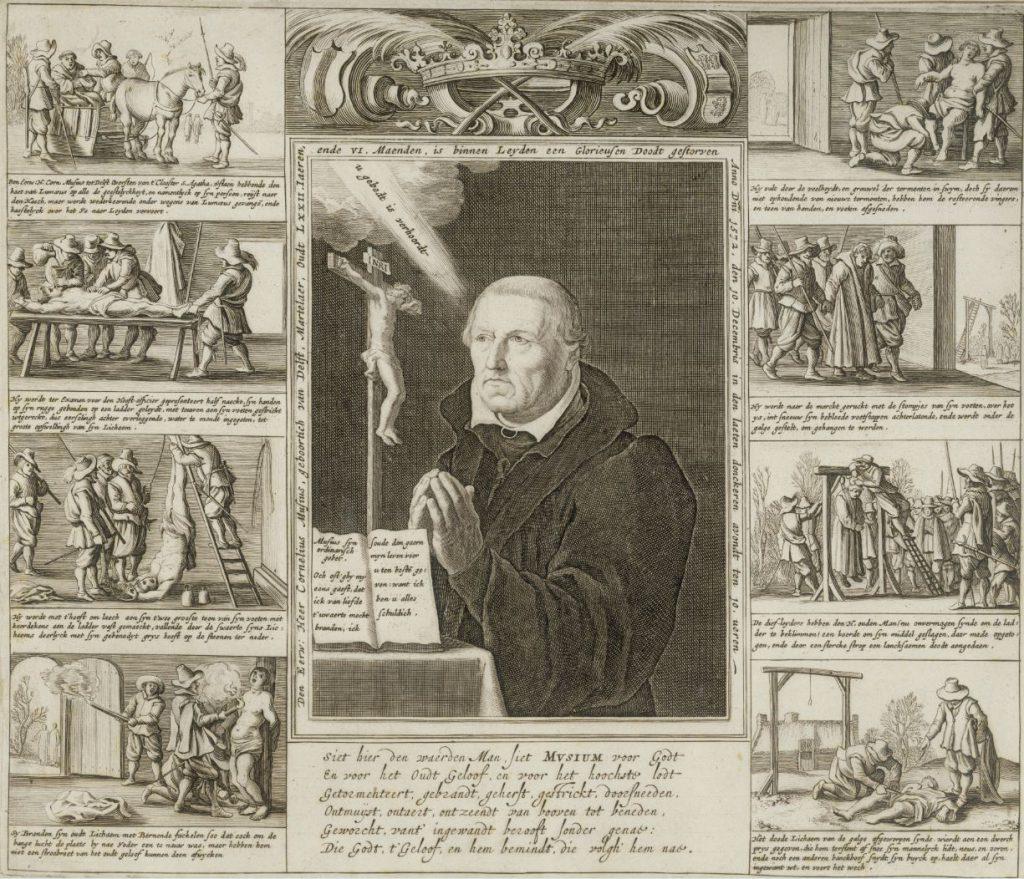 Portret van Cornelis Musius, omringd door scènes van zijn marteldood. Prent door Jan van de Velde, 1632-1634 (TMS 59193)