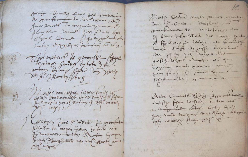 Bladzijde uit het register van schoolhouders, 1589-1805. (Archief 1, inv.nr 1808)