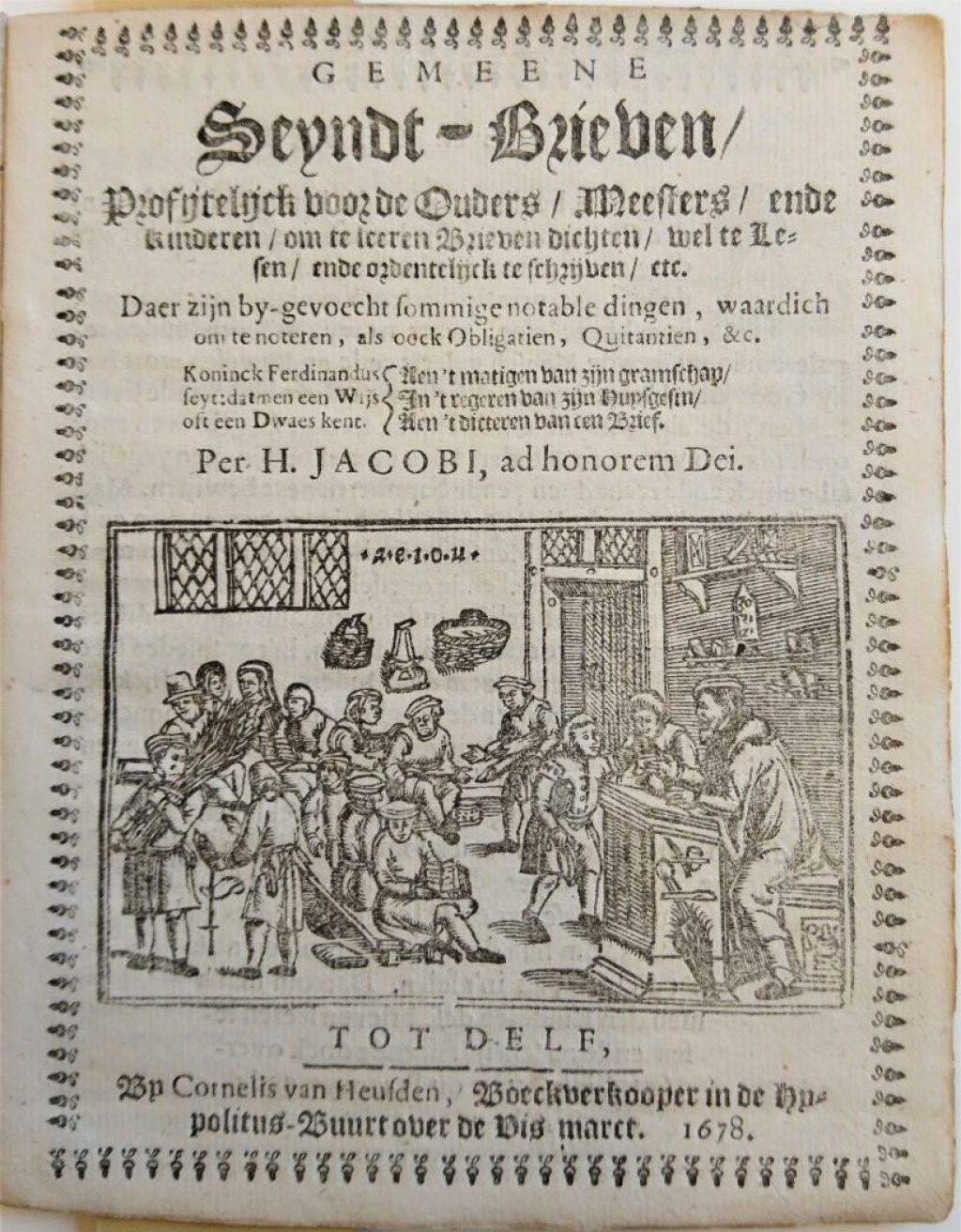 Gravure van een schoollokaal op de titelpagina van een in Delft gedrukt boekje, 1678. (Bibliotheek)