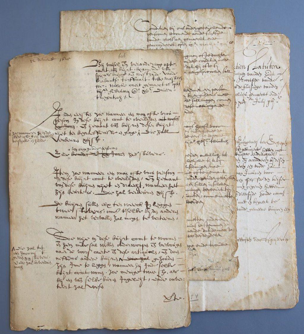 Reglementen van de buurten Brabantse Turfmarkt (Archief 161, inv.nr 1701, f. 606, 1625), Molslaan (Archief 598, inv.nr 636, 1620) en Gasthuislaan (Archief 598, inv.nr 635, 1611).