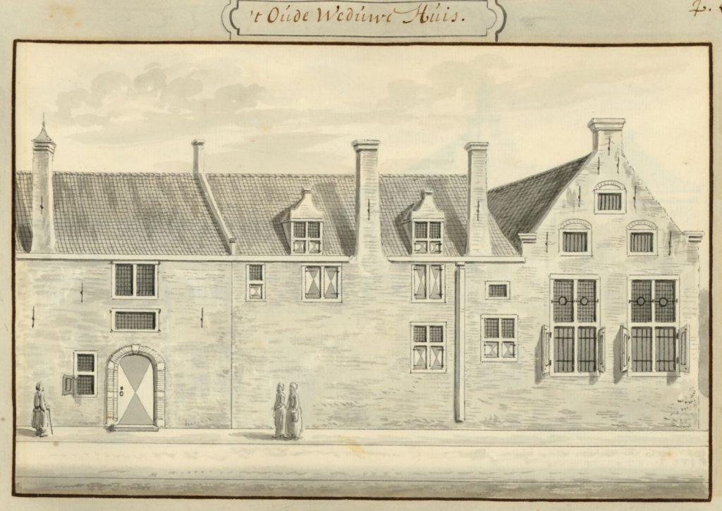 De ingang van het oude-vrouwenhuis aan de Schoolstraat, begin achttiende eeuw getekend door Abraham Rademaker. (TMS 5695)