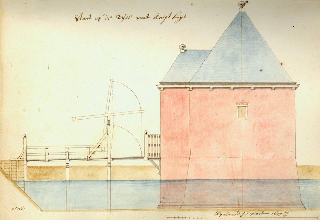 De zijkant van een kruittoren; ontwerptekening door Pieter Post, 1659. (TMS 7893)