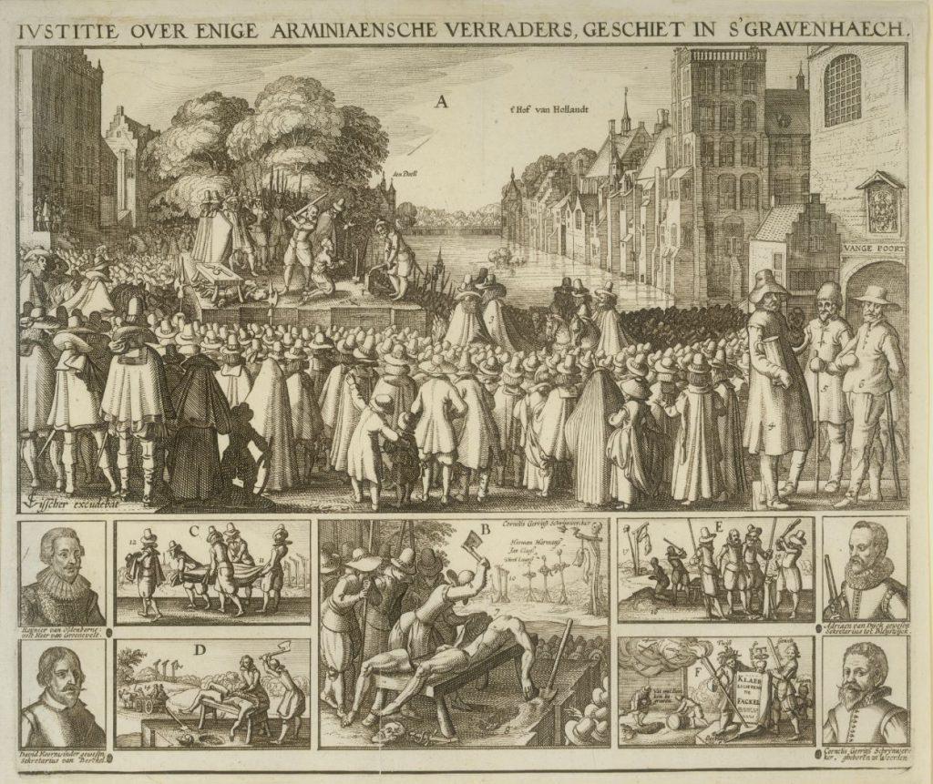 Executie van de daders van de moordaanslag op prins Maurits in 1623; gravure door Cornelis Visscher. (TMS 91246)