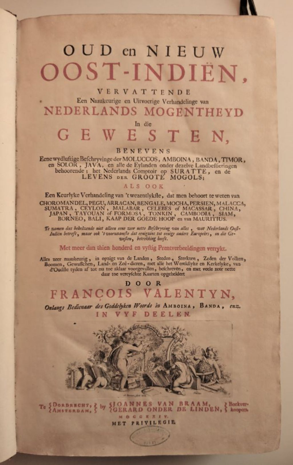 Titelpagina van Oud en Nieuw Oost-Indiën van François Valentijn. (Bibliotheek)