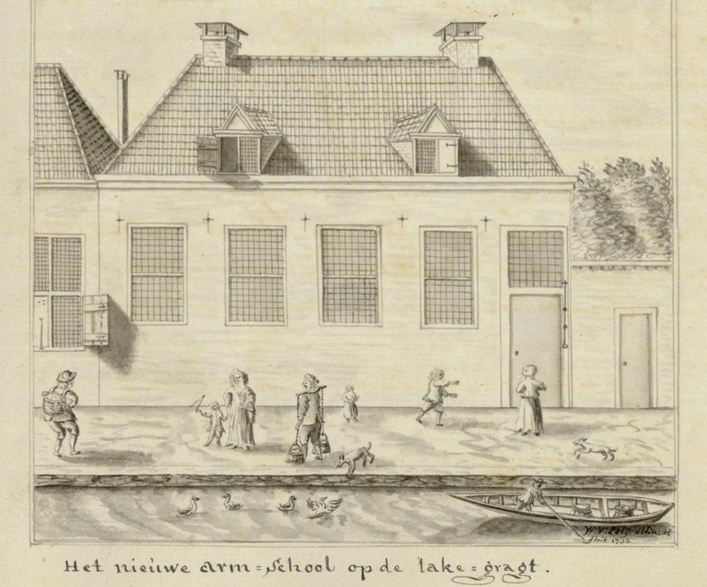 De armenschool aan de lakengracht, in 1732 getekend door Willem van der Lelij (TMS 26890)