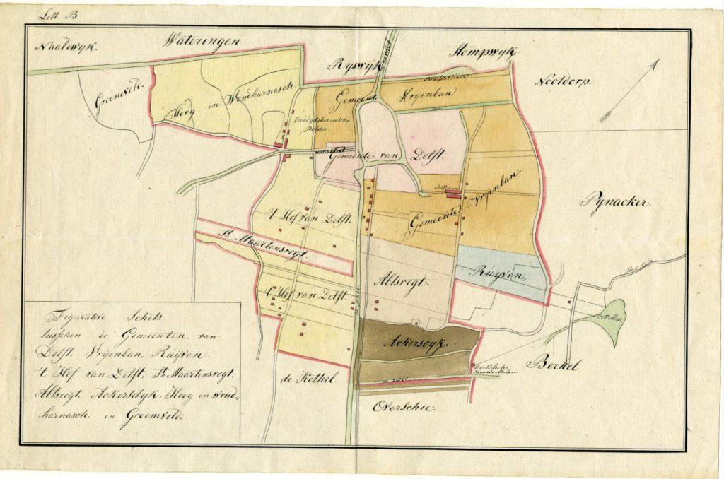 Omstreeks 1820 ligt Delft ingeklemd tussen de gemeenten Hof van Delft en Vrijenban. (TMS 6570)