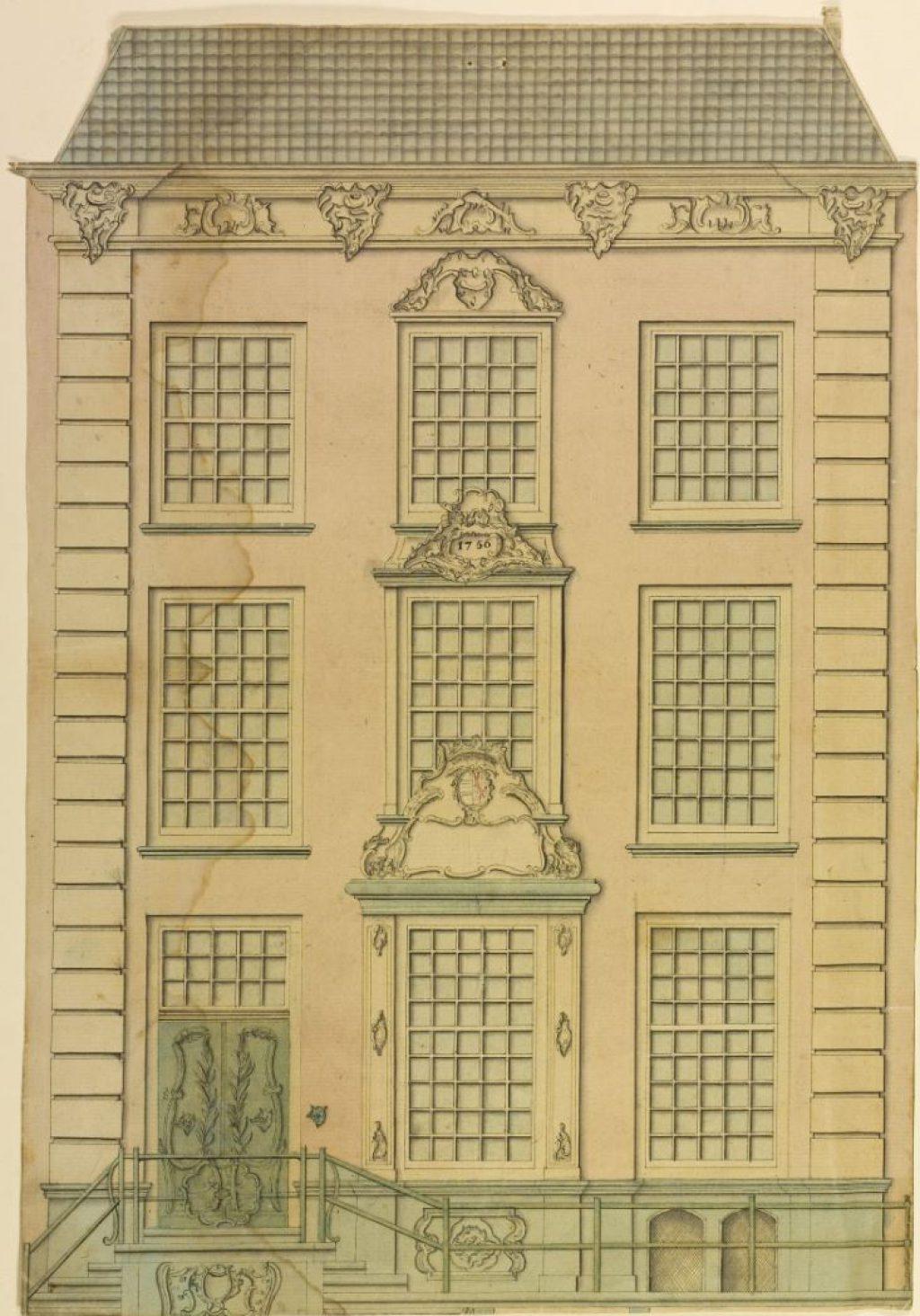 Ontwerp voor de gevel van Oude Delft 49, 1756. (TMS 8033)