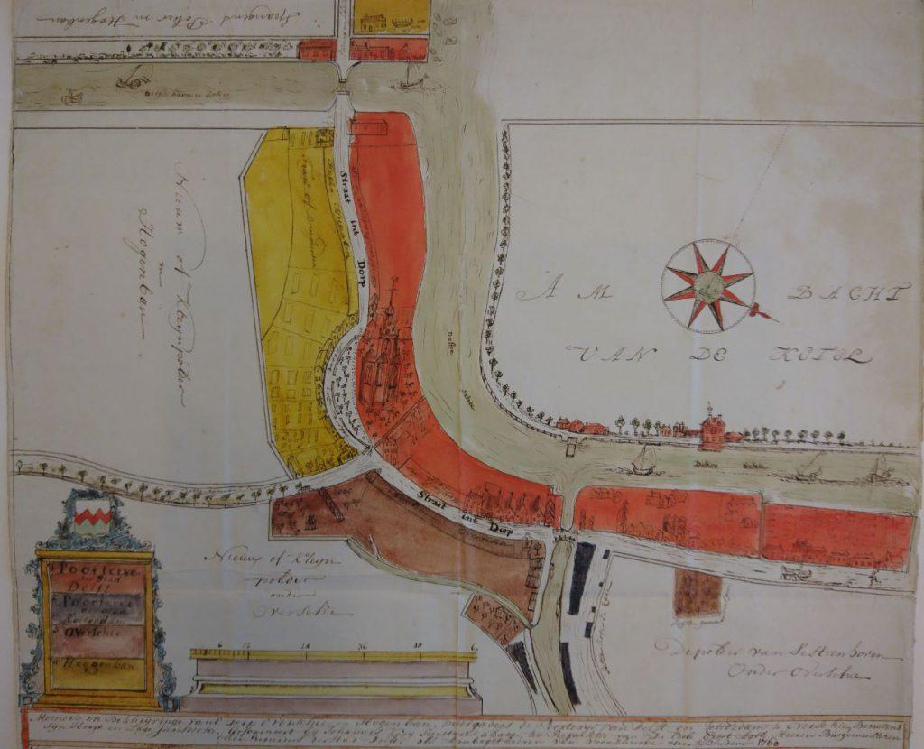 Kaart van Overschie door secretaris Johannes Kooij, waarop de verschillende rechtsgebieden zijn aangegeven, 1760. (TMS 65334)