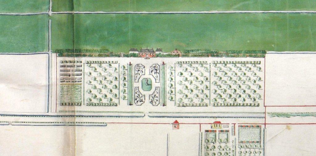 Detail van de kaart van de landerijen van Juliaen Groenewegen, circa 1713. (TMS 221034)