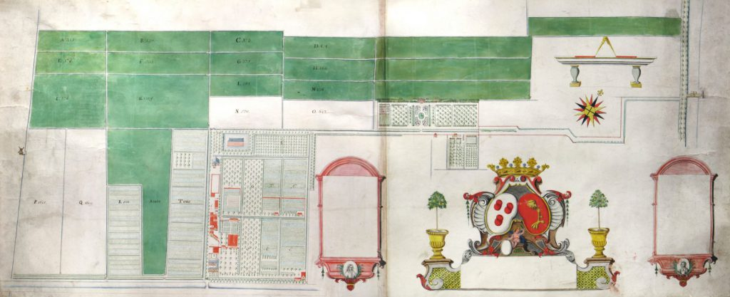 Kaart van de landerijen van Juliaen Groenewegen, circa 1713. (TMS 221034)