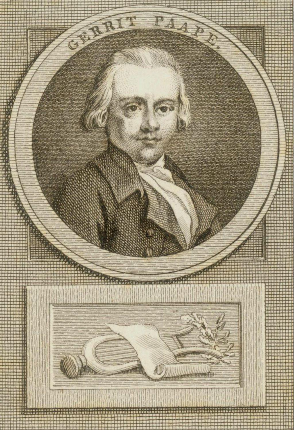 Gegraveerd portret van Gerrit Paape (1752-1803) door Cornelis Bogerts. (TMS 70213)