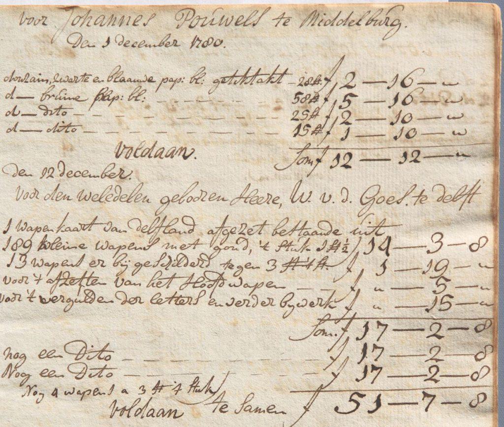 Kasboekje van Gerrit Paape, met onder meer betaling voor het inkleuren van een kaart voor het Hoogheemraadschap van Delfland, 1780. (Archief 598, inv.nr 762)