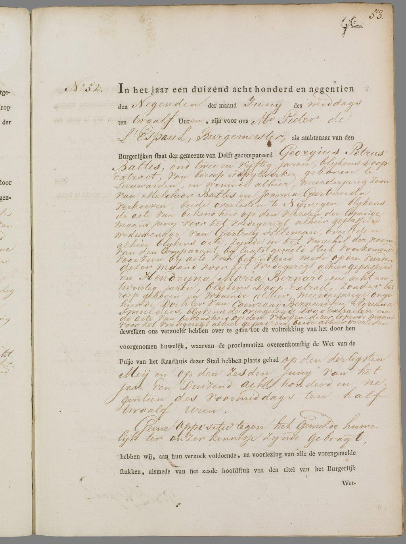 Huwelijksakten 1819 (Burgerlijke stand, akte 52)