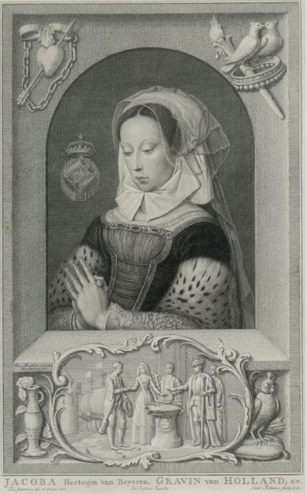 Portret van Jacoba van Beieren. Gravure van Jacob Folkema uit 1753. (TMS 74903)