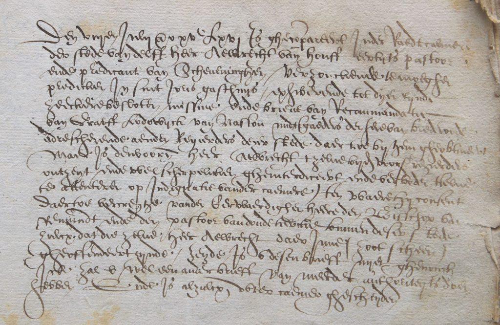 Pagina uit het 'Register Troublen', 1566-1567. (Archief 1, inv.nr 4254)