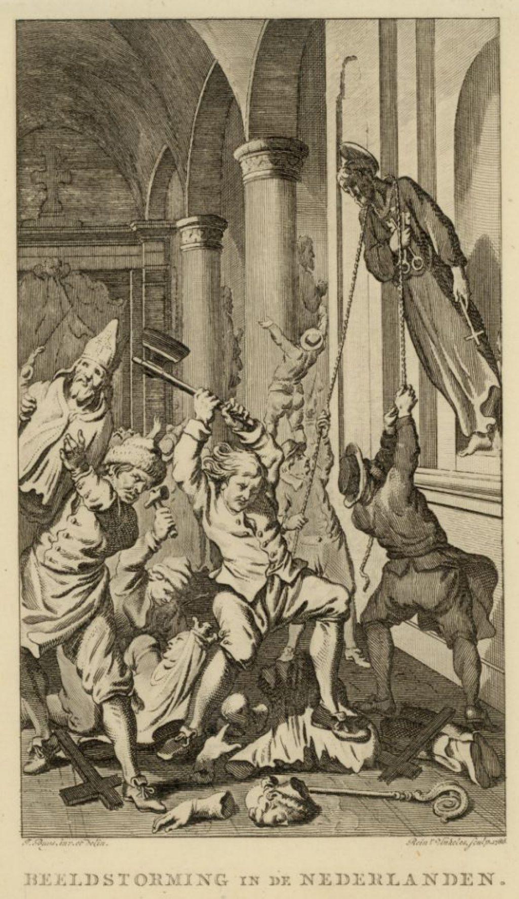 Beeldenstorm op een gravure van Reinier Vinkeles, 1786, naar een tekening van J. Buys. (TMS 3907)
