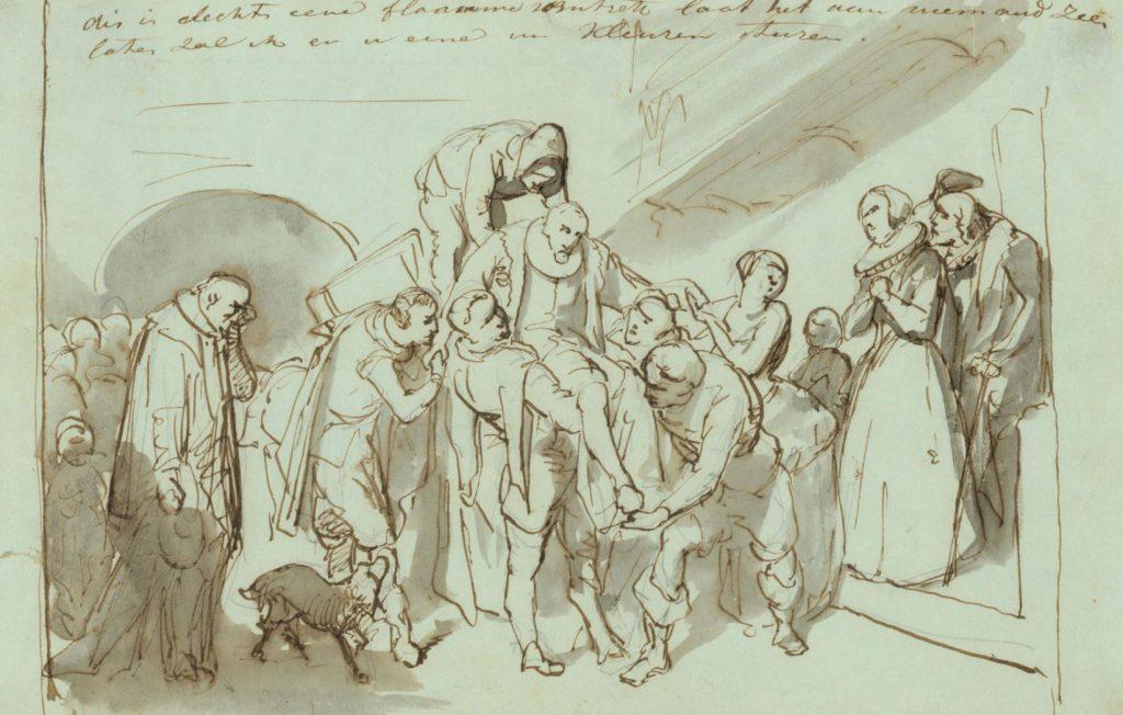 Het lichaam van de vermoorde Willem van Oranje wordt weggedragen; Jozef Israëls, 1854. (TMS 4309)