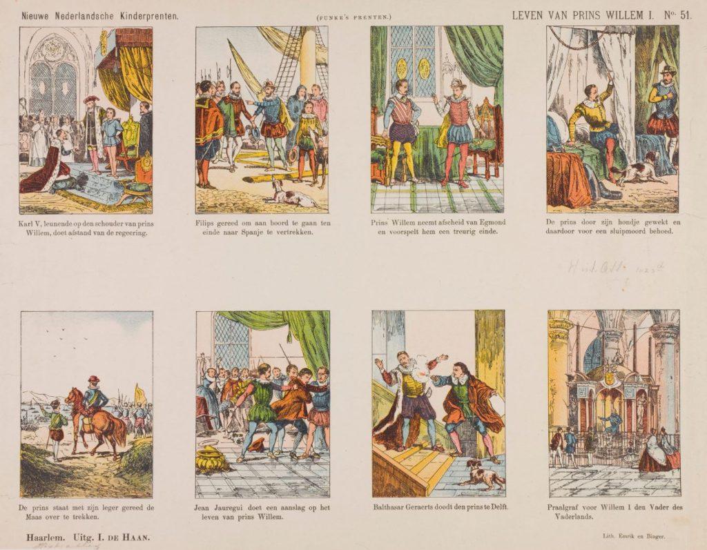 Kinderprent uit de negentiende eeuw met acht scènes uit het leven van Willem van Oranje. (TMS 74338)