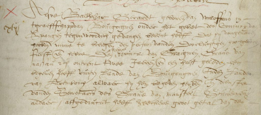 Fragment van het vonnis van Balthasar Gerards uit het crimineelboek van de schepenen. (Archief 1, inv.nr 2383)