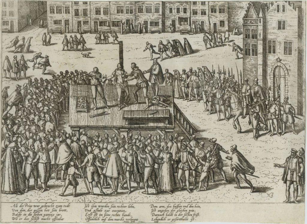 Terechtstelling van Balthasar Gerards op de Markt; gravure van Frans Hogenberg, 16e eeuw. (TMS 80716)