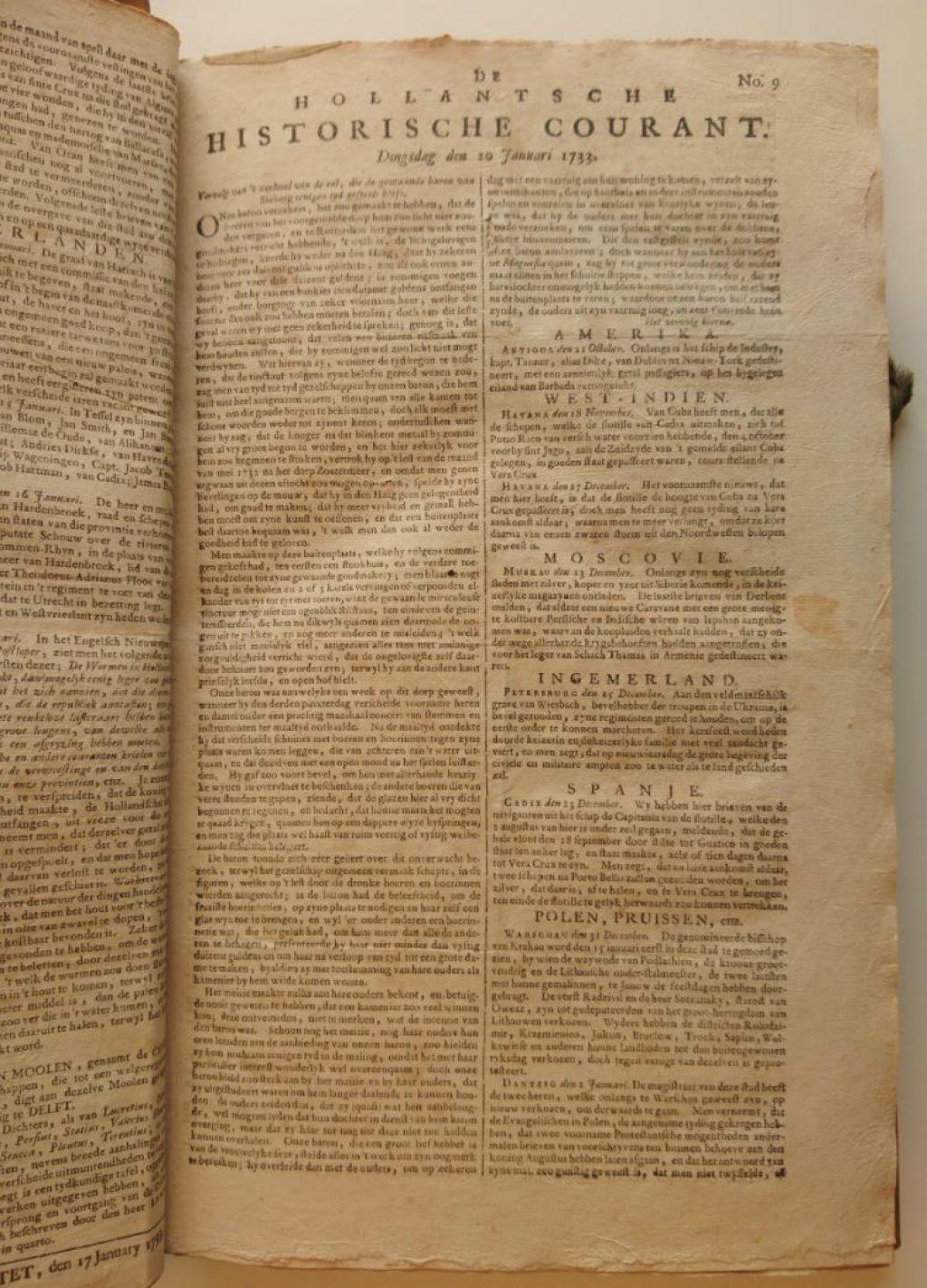 Voorpagina van de Hollantsche Historische Courant van dinsdag 20 januari 1733. (Bibliotheek)