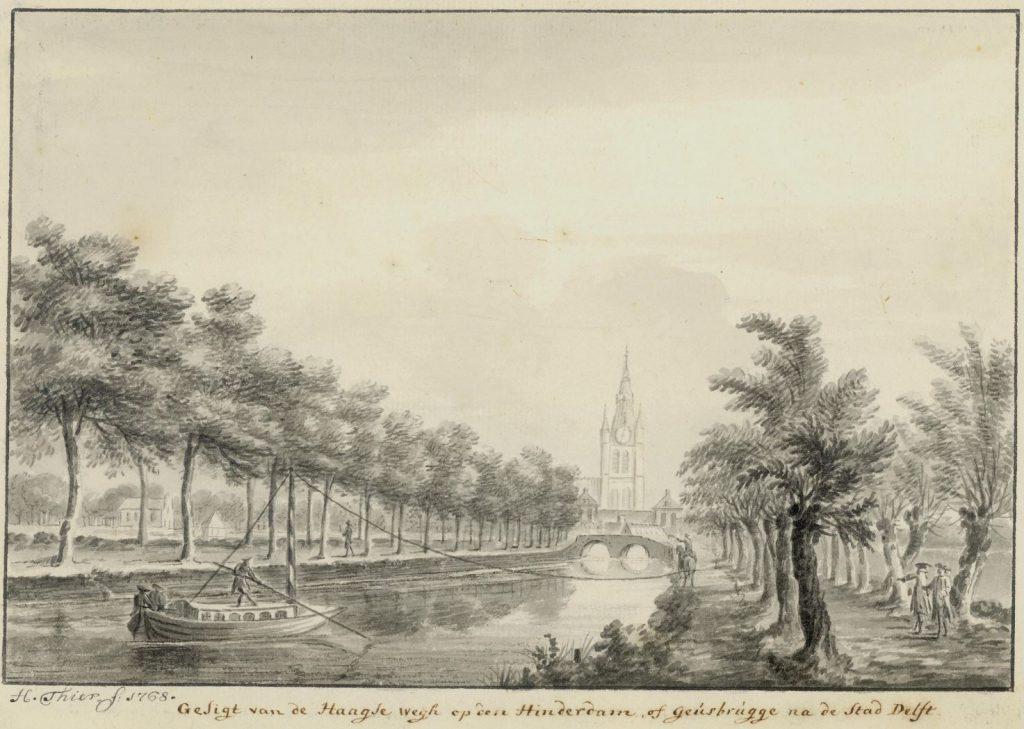 Een trekschuit in de Vliet, getekend door Hendrik Thier in 1768. (TMS 68154)