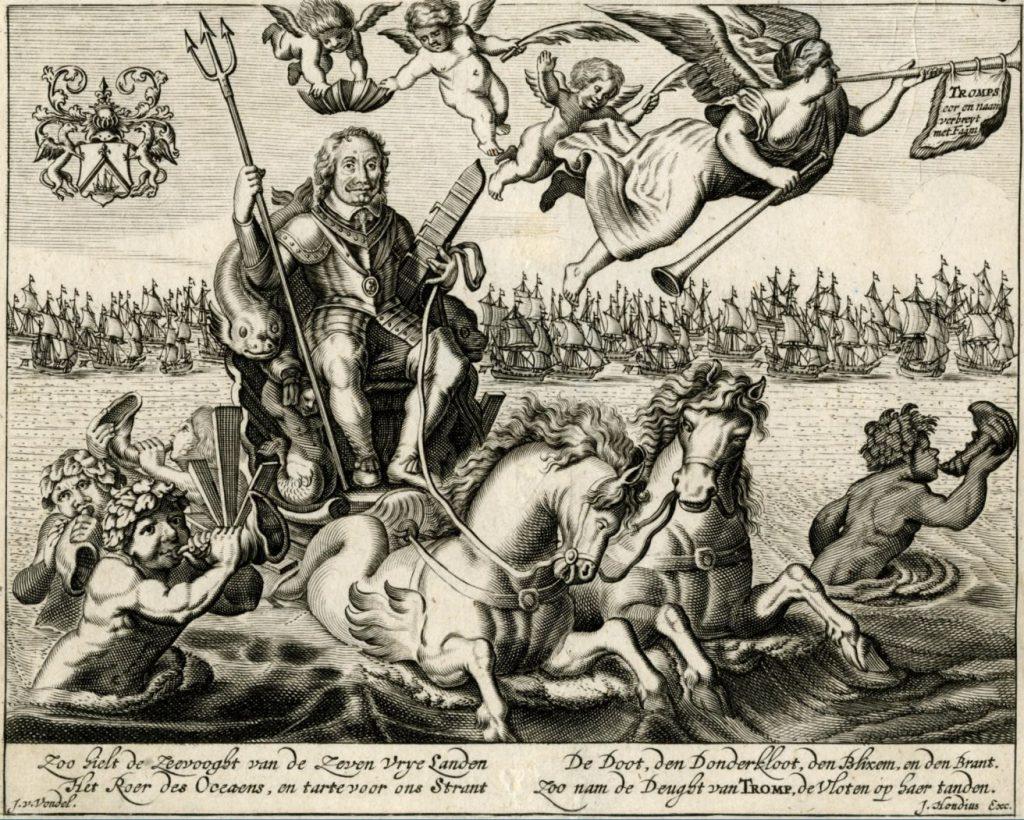 Tromp op een zegewagen over zee getrokken door paarden, met in zijn hand een drietand en een scheepsroer. Een engel kroont hem met een schepenkroon, daarboven de Faam met twee bazuinen. Jodocus Hondius, 1653. (TMS nummer 109370)