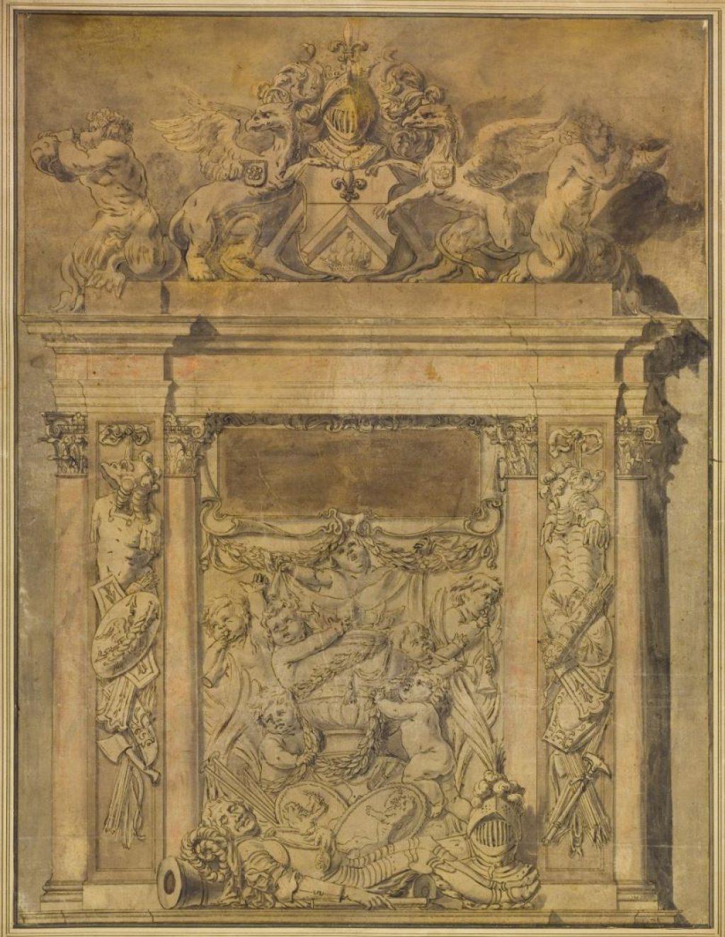 Ontwerptekening voor beeldhouwwerk op het praalgraf van Tromp door Rombout Verhulst, c. 1655 (TMS 64837)