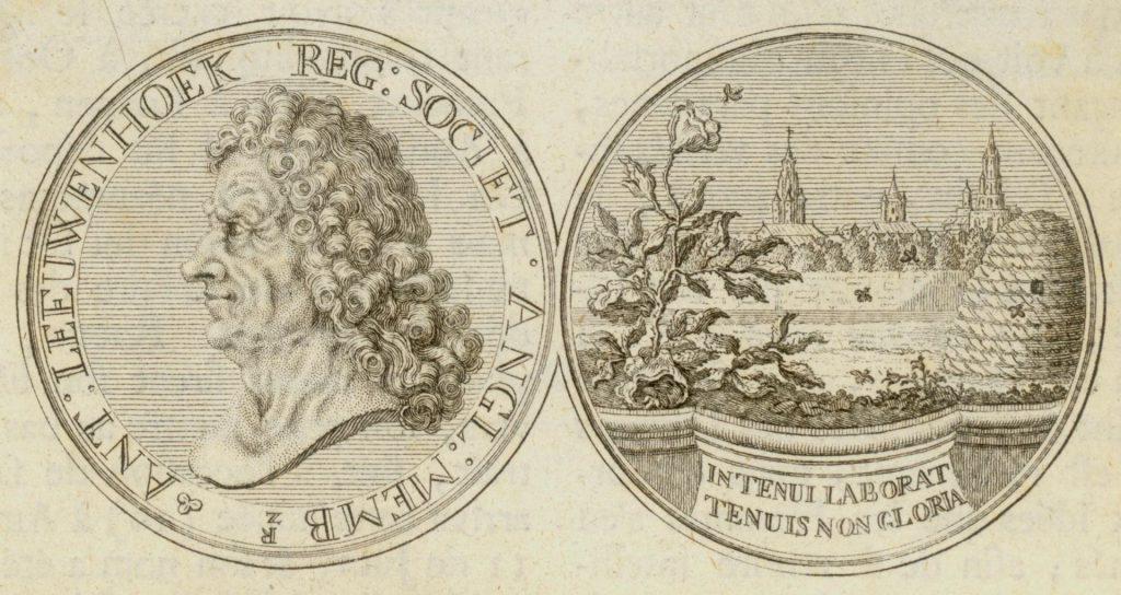 Gravure van de medaille die Antoni van Leeuwenhoek in 1716 ontving van de universiteit van Leuven. (TMS 70034)