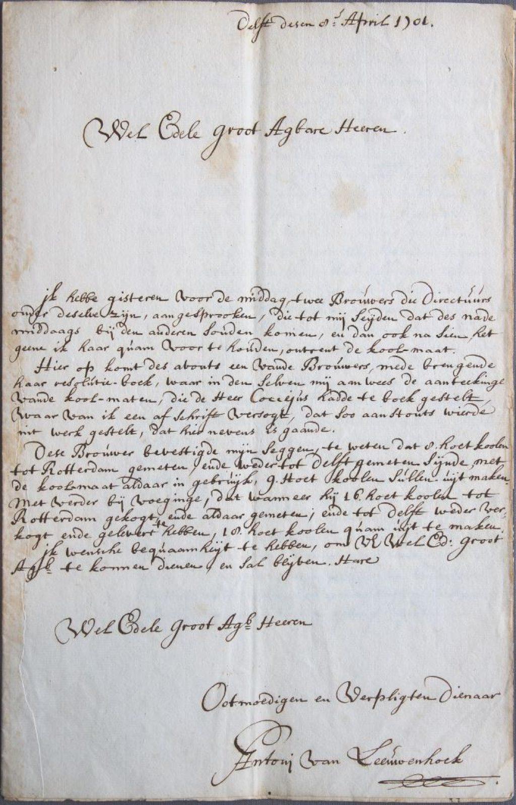 Brief van Anthoni van Leeuwenhoek aan het stadsbestuur over de kolenmaat, 8 april 1701. (Archief 1, inv.nr 1849)