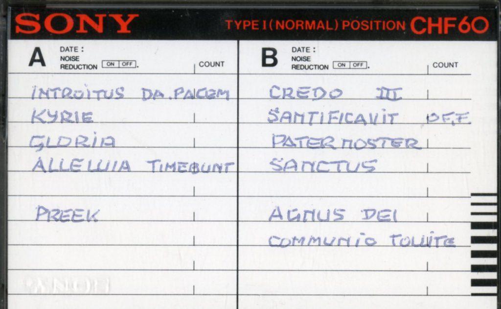 Cassette van RK-zangkoor Deo Sacrum, 1984 (TMS 125725)
