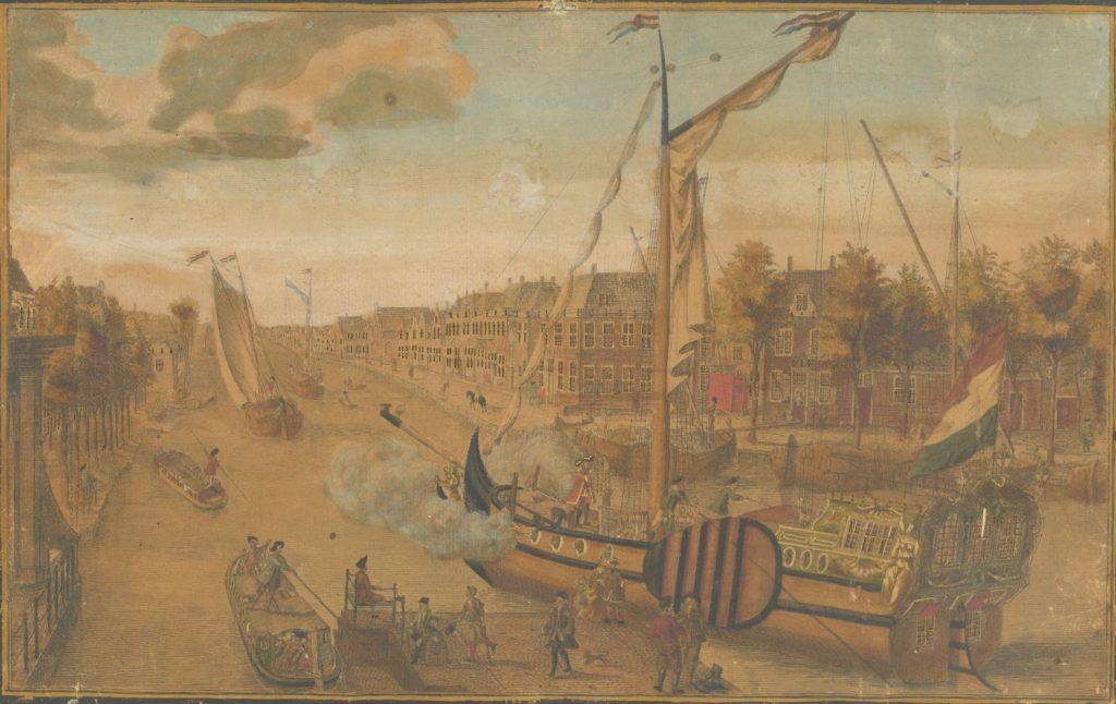 Een VOC-jacht vertrekt uit Delft. Rechts het Zuideinde, links is nog net de brug van de Rotterdamsepoort te zien. H. Scheurleer, c. 1750-1765. (TMS 62069)